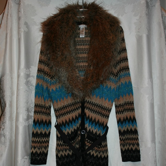 Cache Sweaters Shimmer Faux Fur Detachable Collar Sweater Poshmark